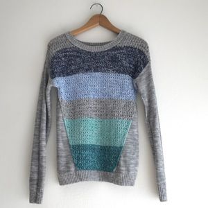 Mossimo Gray Blue Stripe Open Knit Sweater Size M